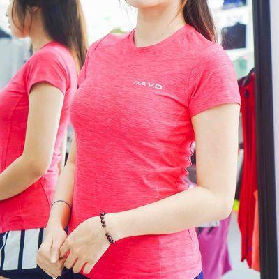 Áo ngắn tay gym nữ cổ tròn HY3