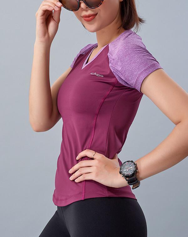 Áo ngắn tay tập yoga nữ cổ tim HY11