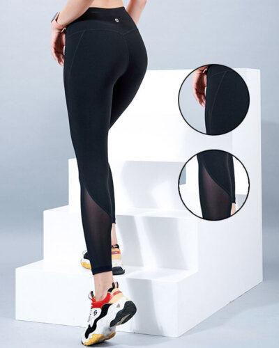 Quần legging tập gym nữ phối lưới QD26