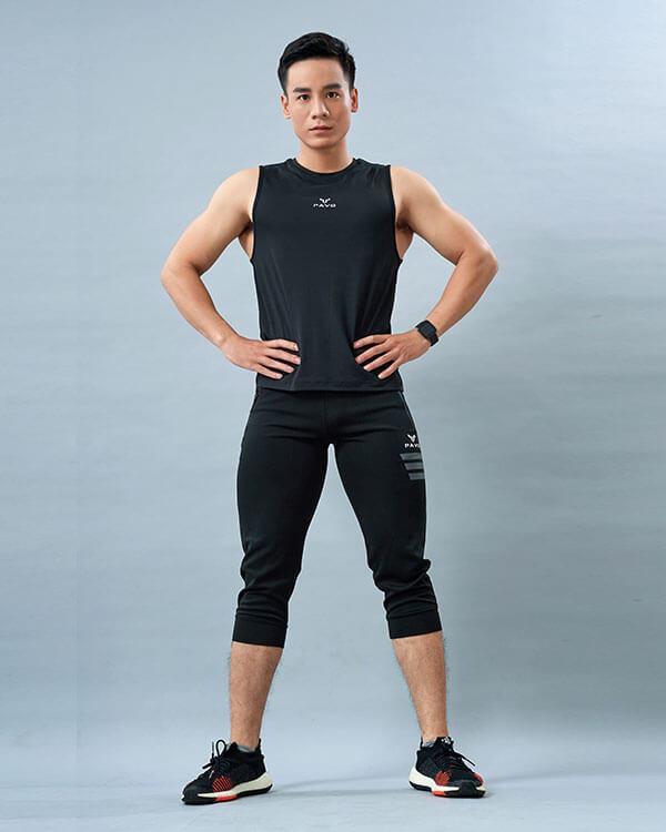 set gym nam 3 áo tanktop quần jogger lửng