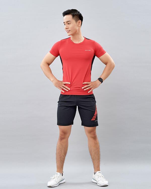 set yoga nam 2 áo thun quần đùi