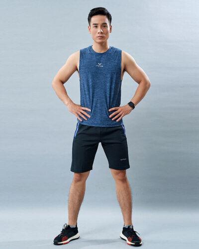 set yoga nam 4 áo tanktop quần đùi