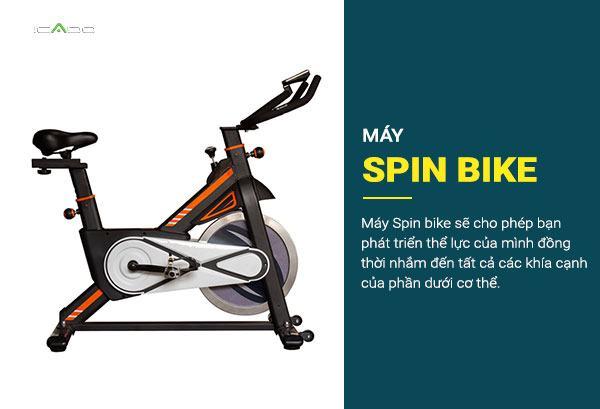 Máy Spin bike là một khung ngồi xoay quanh một đĩa quay duy nhất