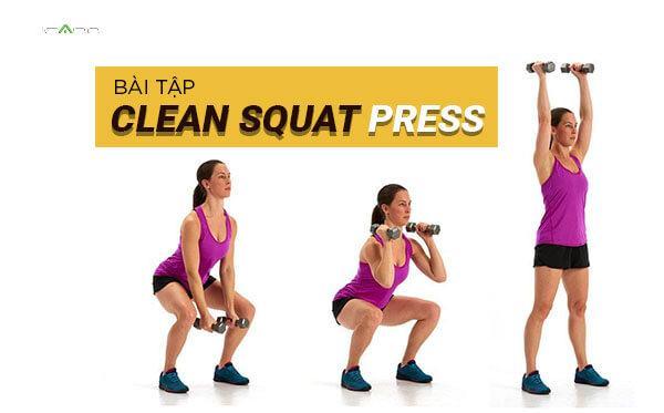 Clean squat press