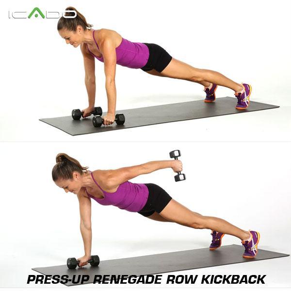 Press-up renegade row kickback