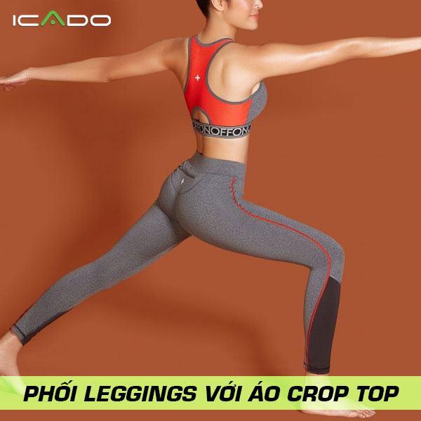 Phối quần legging với áo croptop thích hợp với những bạn có vòng eo nhỏ thôi nhé.